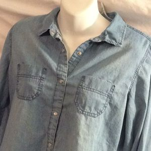 Japna snap up long sleeved denim shirt